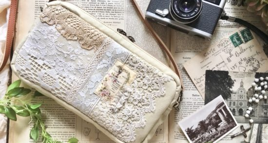 カスタードクリーム色の長財布が入るショルダーバッグ